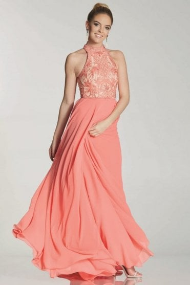 Coral collette embroidered bodice dress