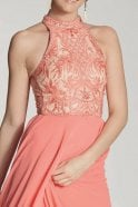 Tiffanys Illusion Prom Coral collette embroidered bodice dress