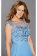 Tiffanys Illusion Prom Cornflower Tori beaded mesh top dress
