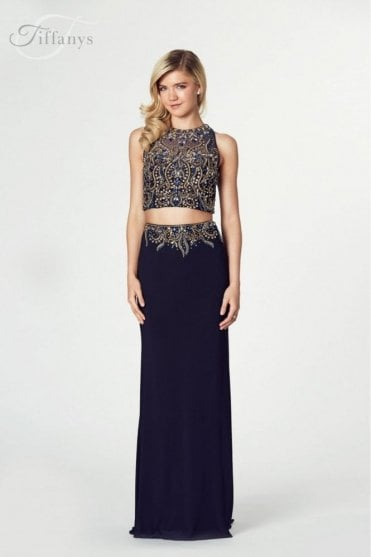 Dark Navy Lorena Beaded Two Piece Gown