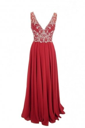Dark Red Clarissa chiffon evening dress