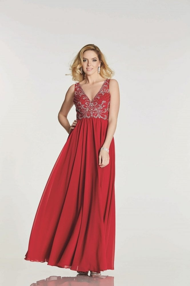 Tiffanys Illusion Prom Dark Red Clarissa chiffon evening dress