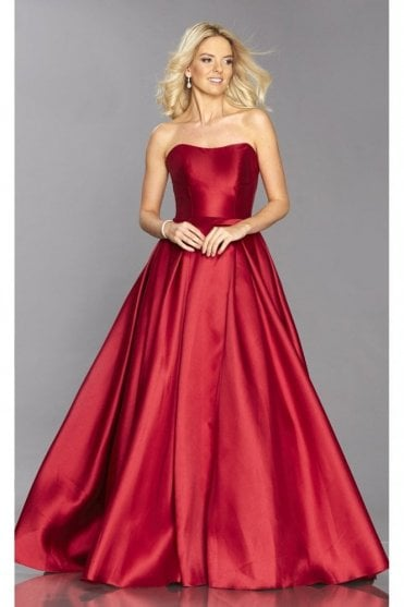 Dark Red Felicity ballgown with pockets