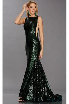 Emerald Green Pixie Sequined Gown