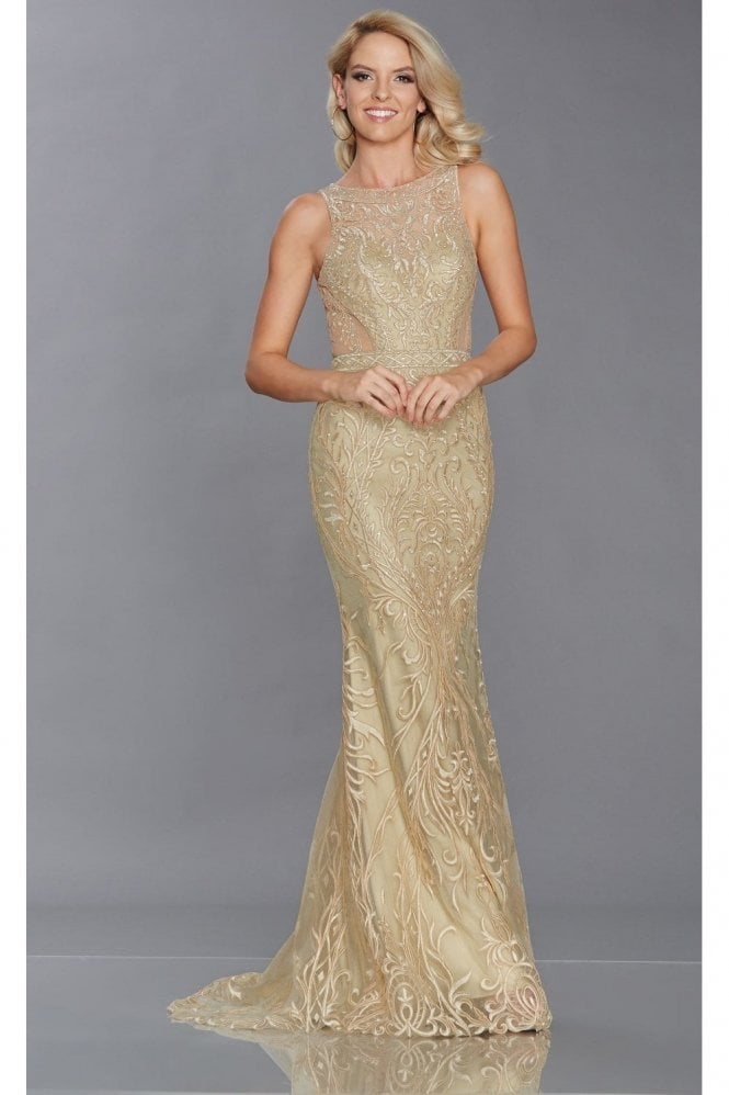 Tiffanys Illusion Prom Gold Nyla Sheer Patterned Gown