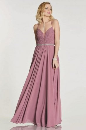 Grape Adriana chiffon gown with beaded waist