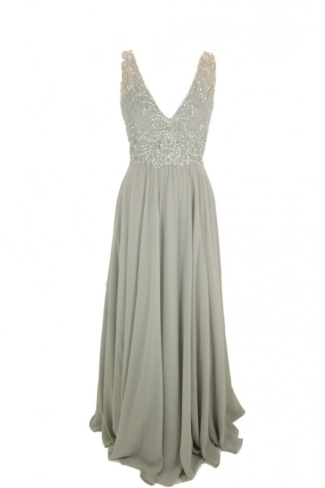 Tiffanys Illusion Prom Grey Clarissa chiffon evening dress