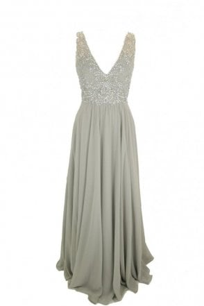 Grey Clarissa chiffon evening dress