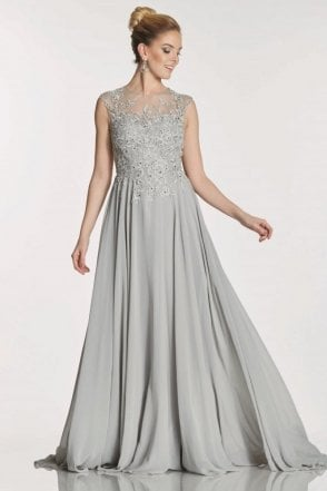 Grey Fernanda embroidered bodice chiffon dress