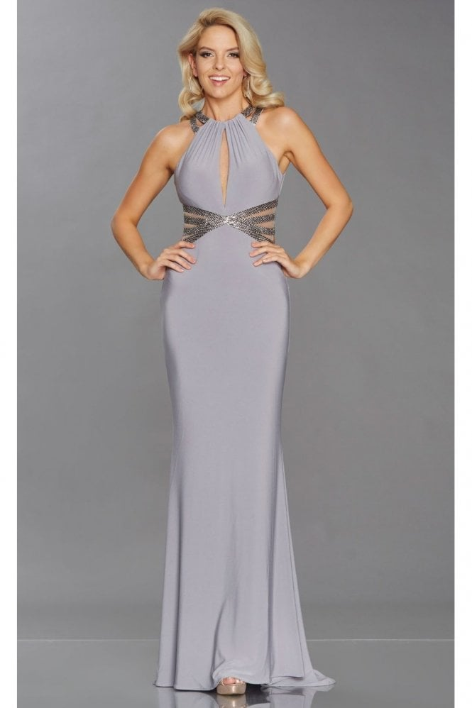 Tiffanys Illusion Prom Grey Kenzy Open back bead and mesh dress