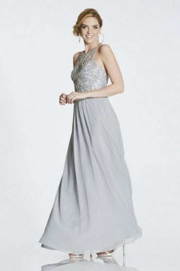 Grey Perryn chiffon gown with silver crystals