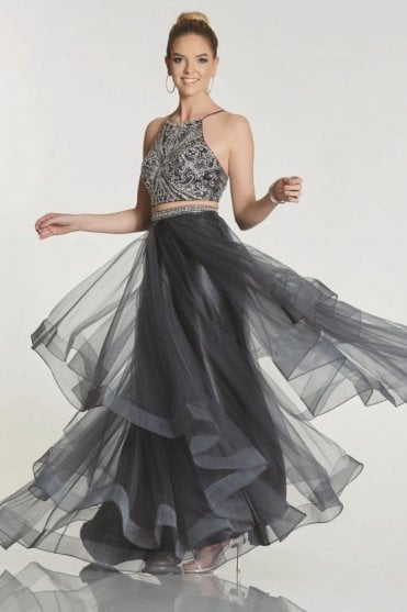 Grey Trinity 2 piece dress with beaded top & net tulle skirt