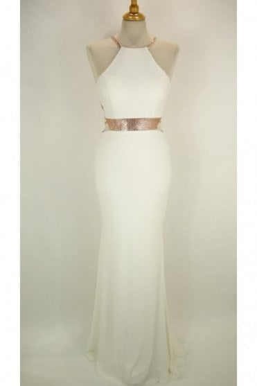 Ivory Lorna bead detailed open strap back dress