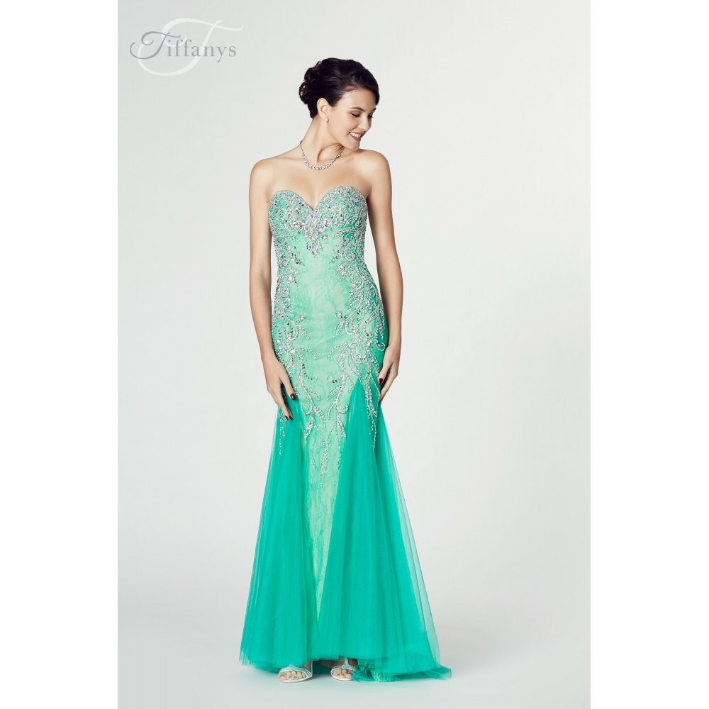 Tiffanys Illusion Prom Fantasia Mermaid Style Gown in Ivory