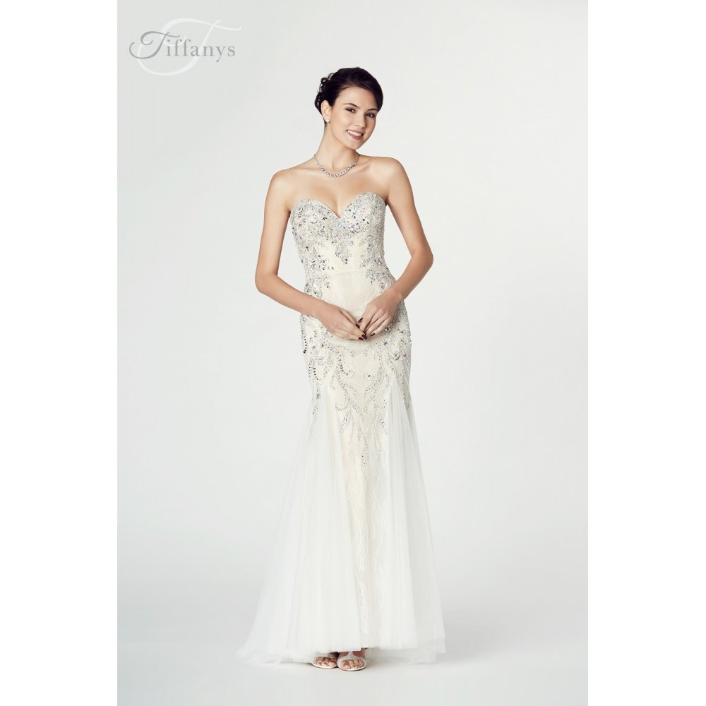 1cf9a902cd Tiffanys Illusion Prom Fantasia Mermaid Style Gown in Ivory