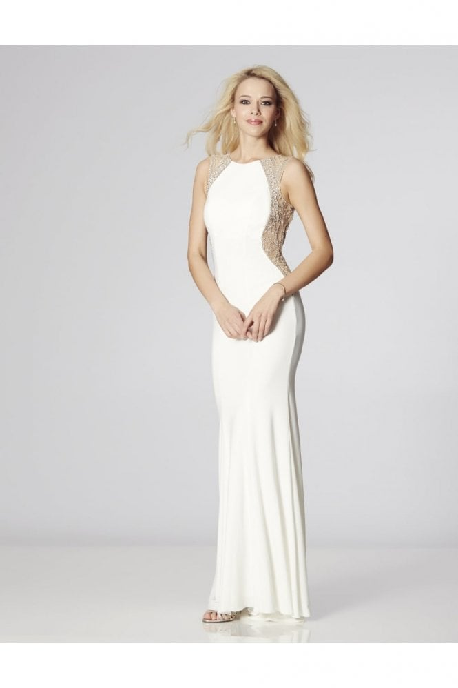 Tiffanys Illusion Prom Ivory Mila Jersey Open Back Gown