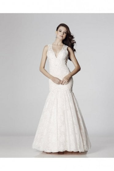 Ivory Penelope Lace Open Back Fishtail Gown