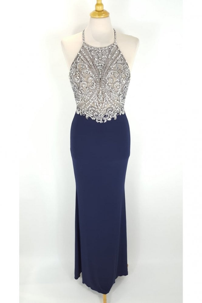 Tiffanys Illusion Prom Madison Navy Jewelled Top Crossover Back Dress