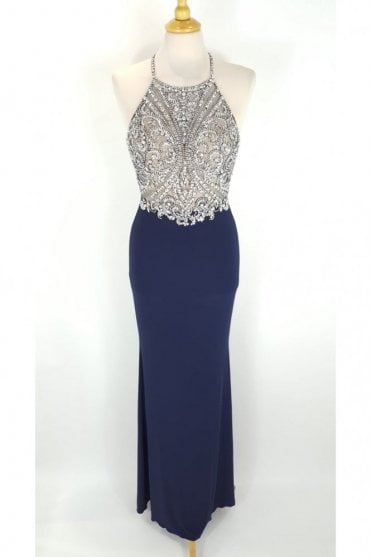 Madison Navy Jewelled Top Crossover Back Dress