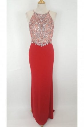 Madison Red Jewelled Top Crossover Back Dress