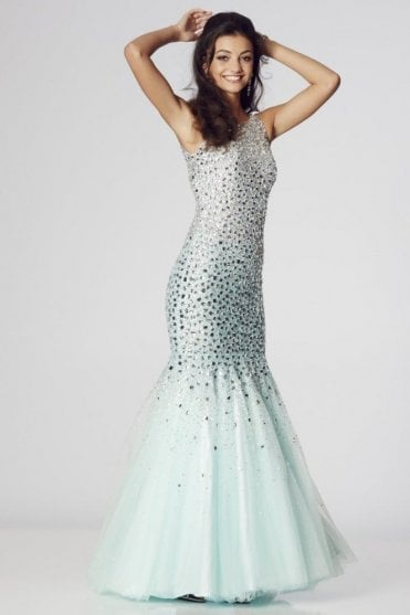 Mint Khaleesi rhinestone jewelled mermaid prom dress