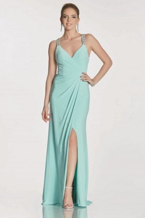 Mint Marcie beaded cross back strap dress