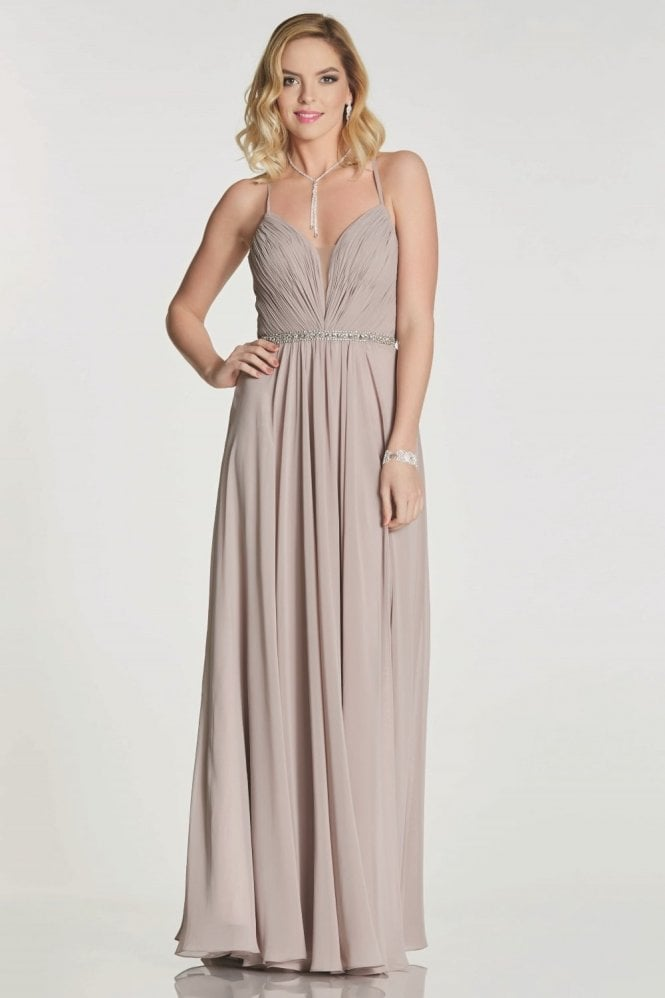 Tiffanys Illusion Prom Mocha Adriana chiffon gown with beaded waist