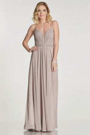 Mocha Adriana chiffon gown with beaded waist