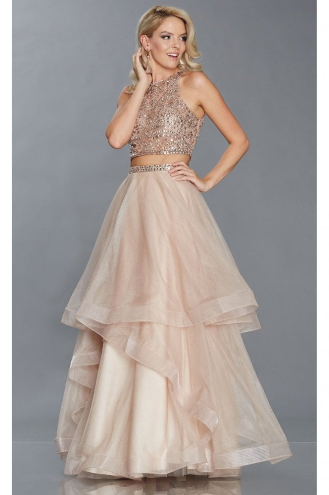 Tiffanys Illusion Prom Mocha Cristie Tiered net skirt & beaded top