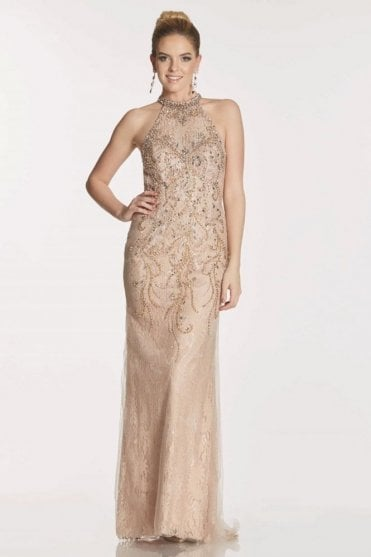 Mocha Nolan high neck beaded gown