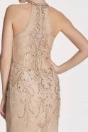 Tiffanys Illusion Prom Mocha Nolan high neck beaded gown
