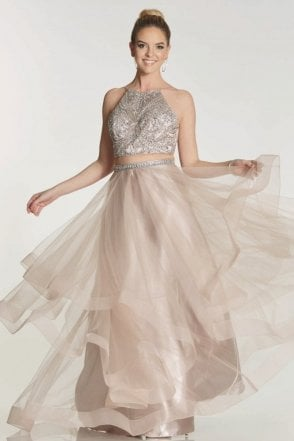 Mocha Trinity 2 piece with beaded top & net tulle skirt