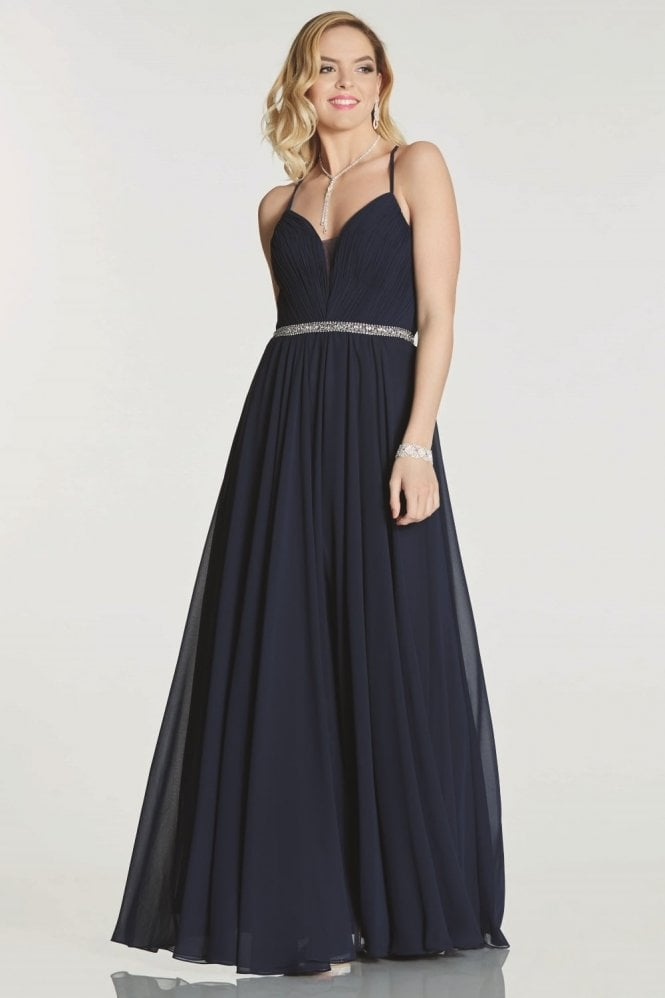 Tiffanys Illusion Prom Navy Adriana chiffon gown with beaded waist