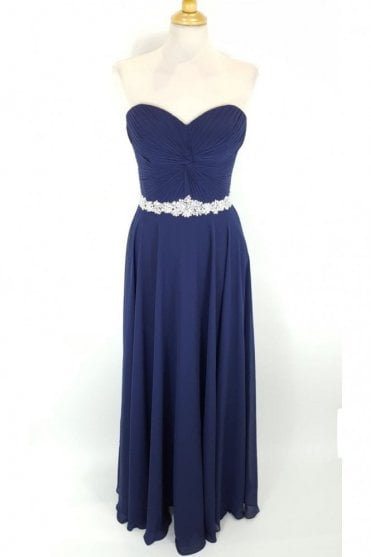 Navy Amanda Chiffon Strapless Evening Gown
