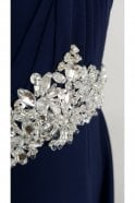 Tiffanys Illusion Prom Navy Amanda Chiffon Strapless Evening Gown