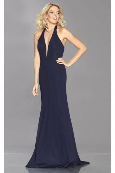 Navy Anna V neck dress with low back