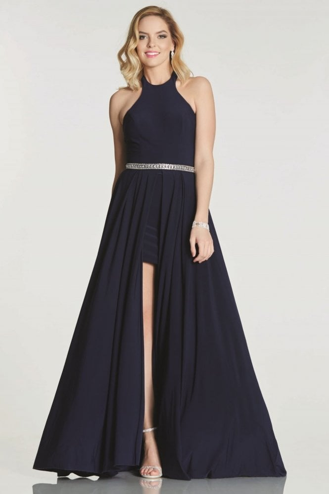 Tiffanys Illusion Prom Navy Annabelle halterneck long/short dress