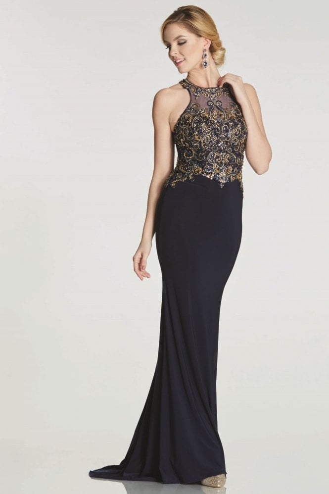 Tiffanys Illusion Prom Navy Ashley heavily beaded bodice dress