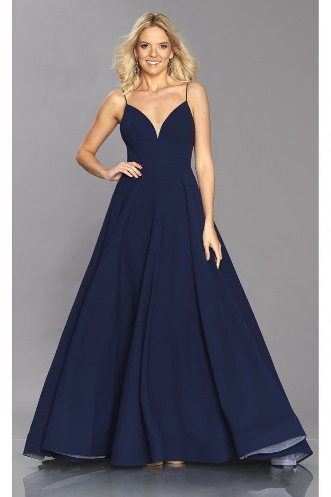 Tiffanys Illusion Prom Navy Bella elegant pocket dress