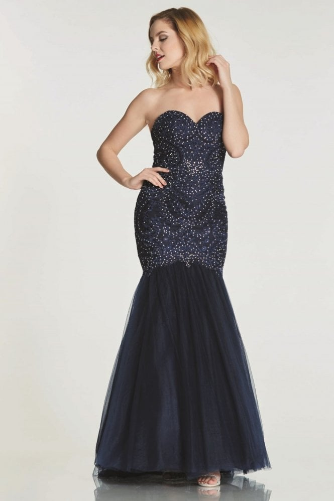 Tiffanys Illusion Prom Navy Blondie Lace Net Fishtail Dress