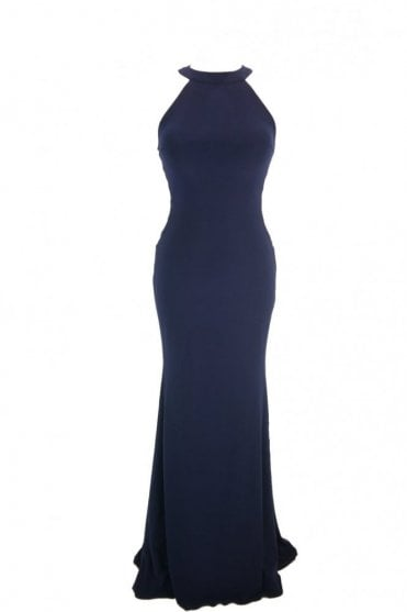 Navy blue Skyler halter neck cross strap side dress