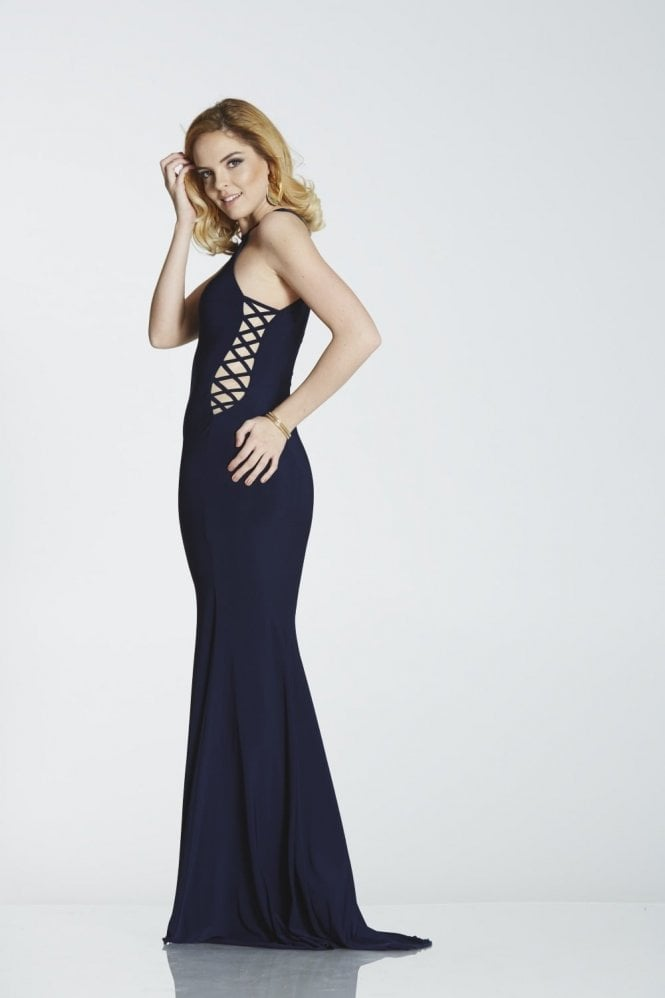 Tiffanys Illusion Prom Navy blue Skyler halter neck cross strap side dress