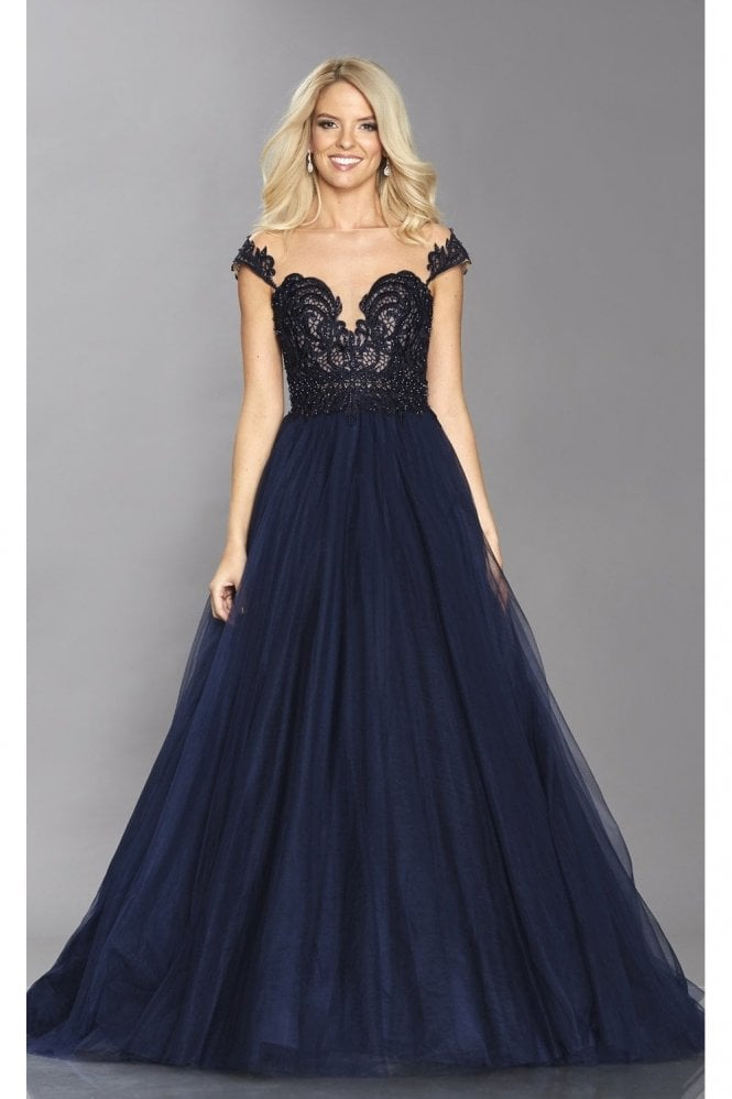 Tiffanys Illusion Prom Navy Bryony lace bodice full net skirt dress