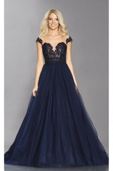 Navy Bryony lace bodice full net skirt dress