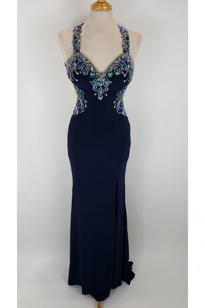 Tiffanys Illusion Prom Navy Carla Jersey Backless Gown