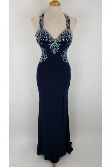 Navy Carla Jersey Backless Gown
