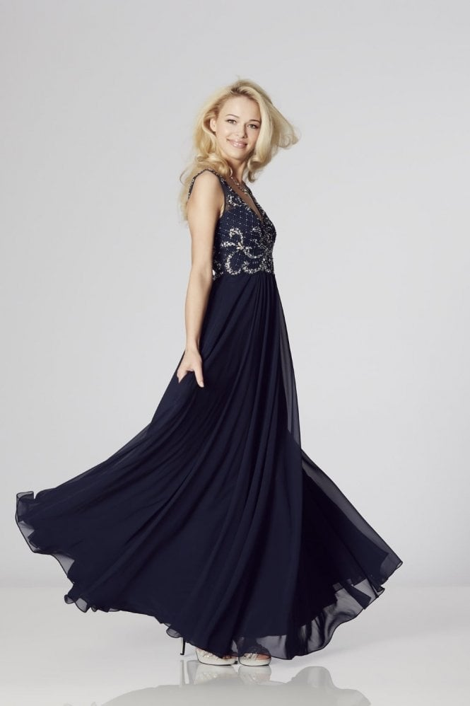 Navy Clarissa Chiffon Evening Dress