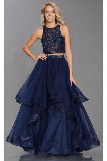 Navy Cristie full net skirt & sparkling top