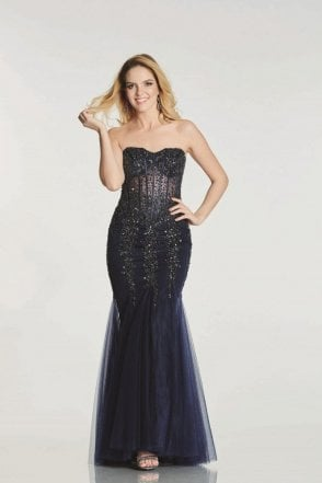 Navy Eliza strapless sweetheart Prom Dress