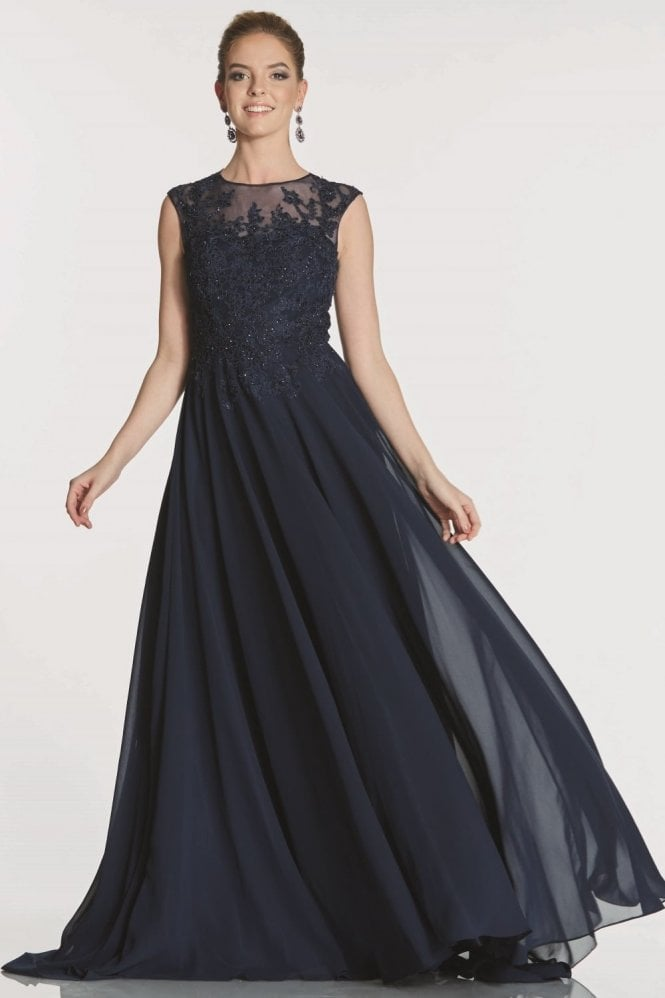 Tiffanys Illusion Prom Navy Fernanda embroidered bodice chiffon dress
